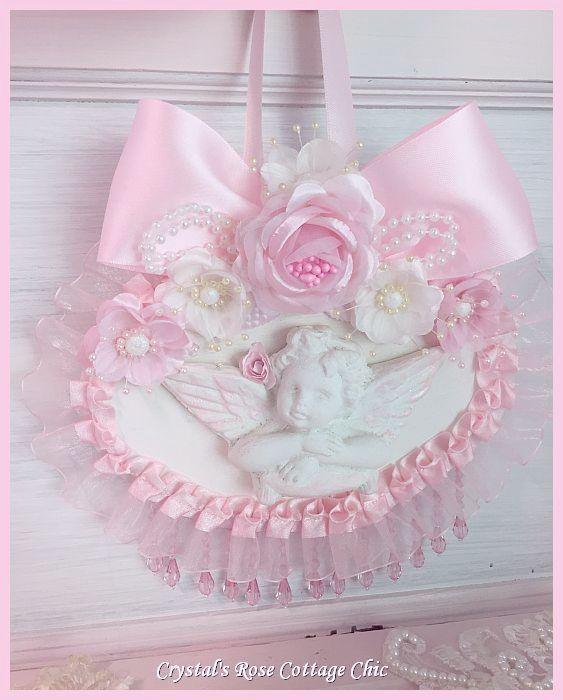 Shabby Chic Pink Rose Cherub Plaque