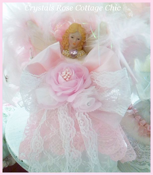 Sweet Shabby Pink Angel Tree Topper
