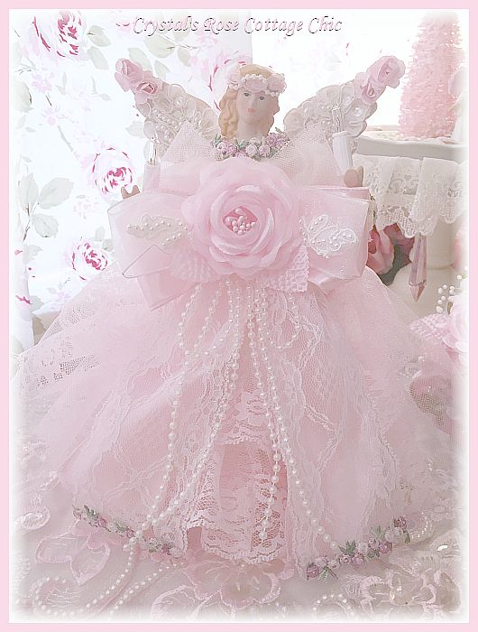 Shabby Chic Pink Rose Lace Angel Tree Topper