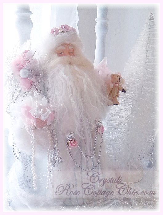 Pink and White Fiber Optic Santa Tree Topper