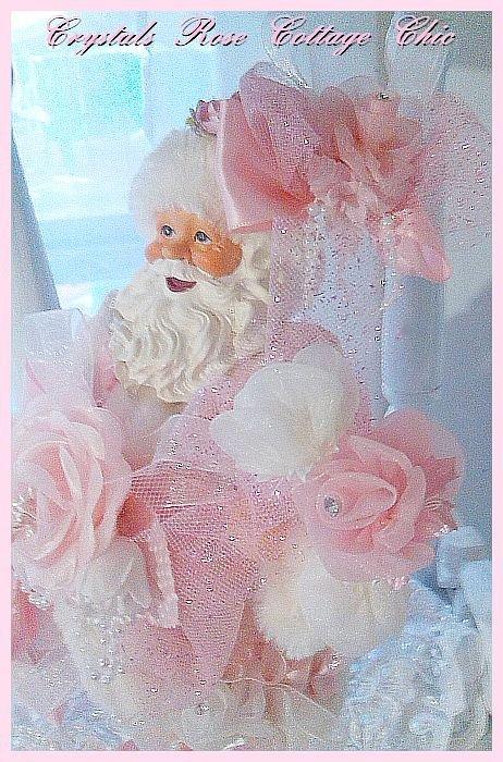 Shabby Pink Rose Santa