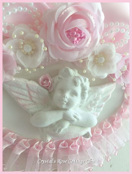 Shabby Chic Pink Rose Cherub Plaque