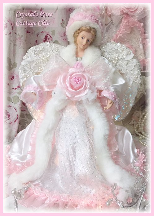 Pink Rose Fiber Optic Angel