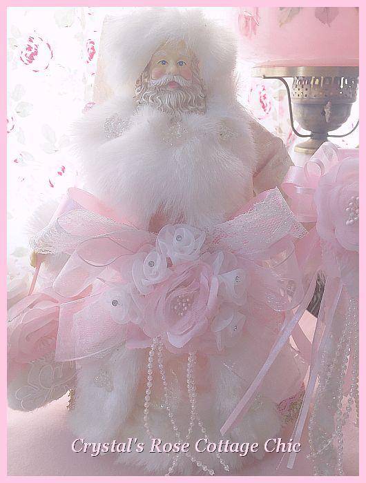 Shabby Pink White Fur Santa Tree Topper