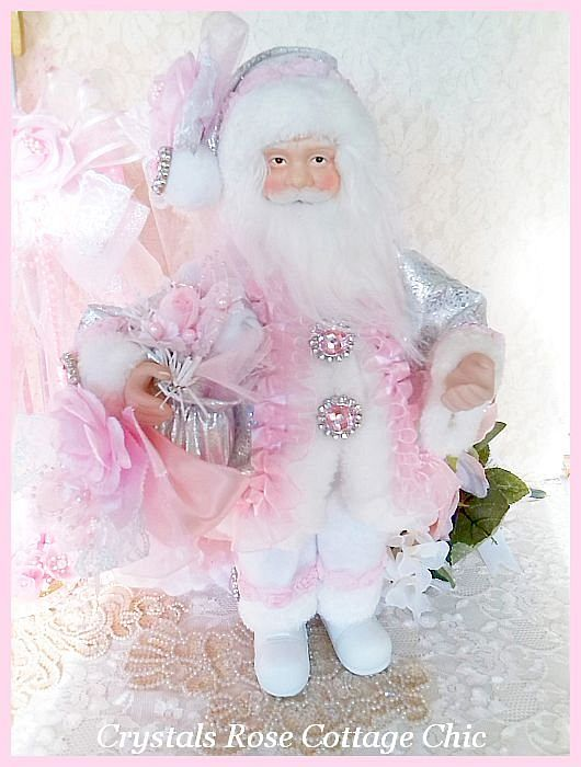 Shabby Pink Rose Santa Clause