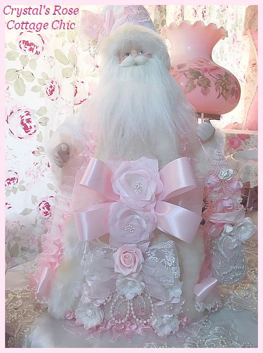 "20"" Shabby Pink and White Santa Tree Topper"