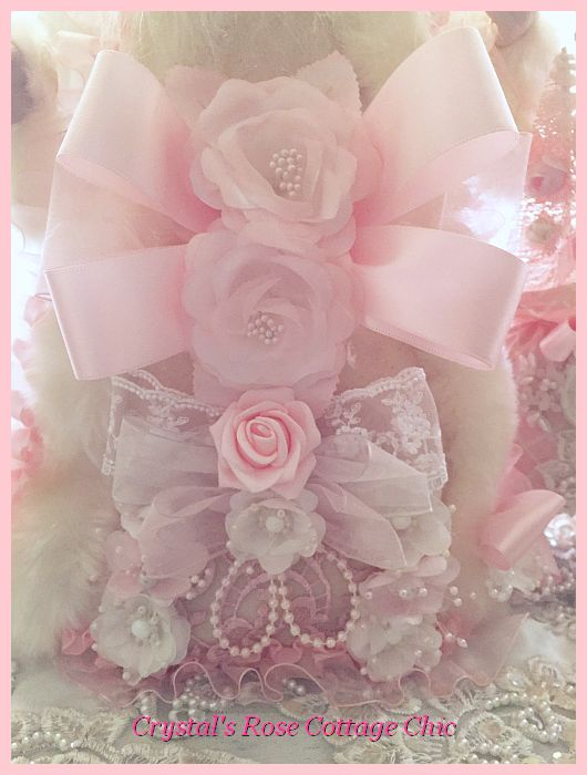"""20"""" Shabby Pink and White Santa Tree Topper"""