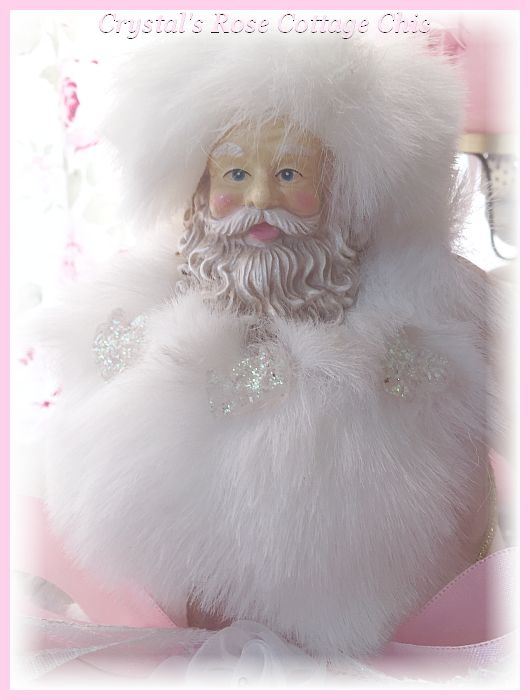 Shabby Pink White Fur Santa Tree Topper