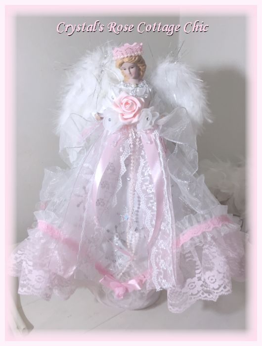 Shabby Chic Pink Angel Christmas Angel Tree Topper Rachel