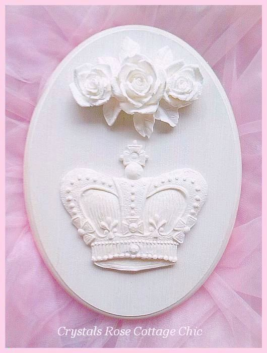 Shabby Rose French Crown Oval Plaque