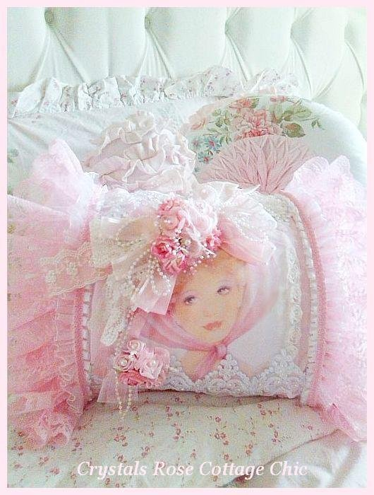 shabby chic pink rose pillow victorian lady boudoir bed pillow bedroom decor