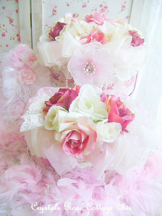 Shabby Victorian Rose Decorative Hat Box