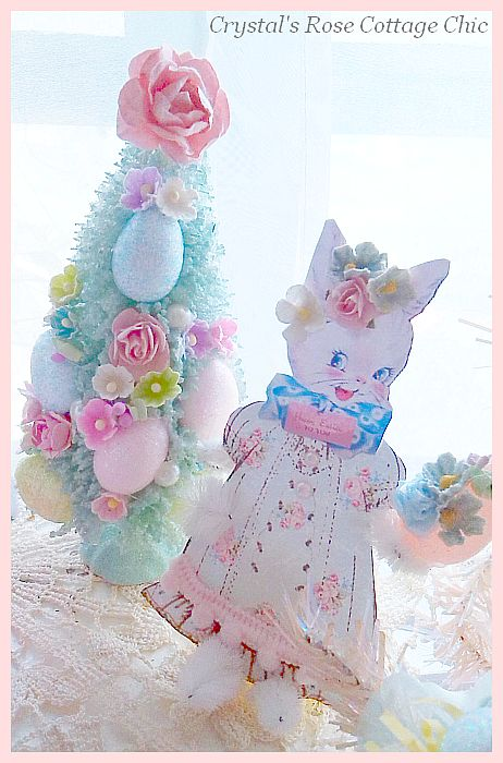 Shabby Aqua Vintage Easter Bottle Brush Tree