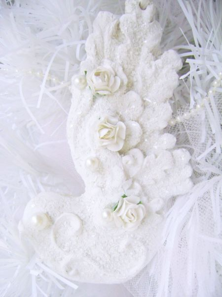 Set of Sugared Shabby White Bird Ornaments