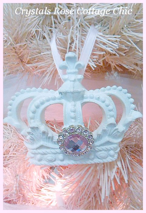 White Fleur de Lis Crown Ornament with Pink Rhinestone...Free Shipping