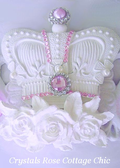 Shabby Chic Chippy Roses Pediment / Bed Crown