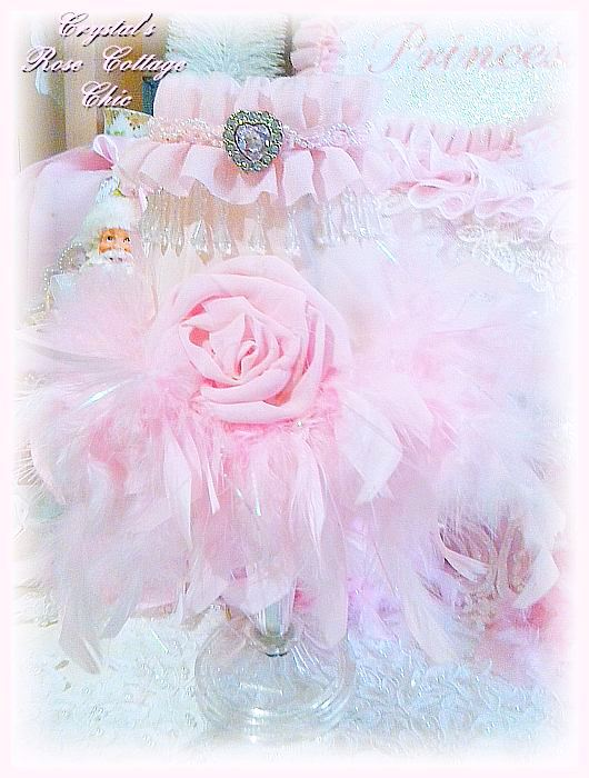 Shabby Chic Pink Feather Lamp