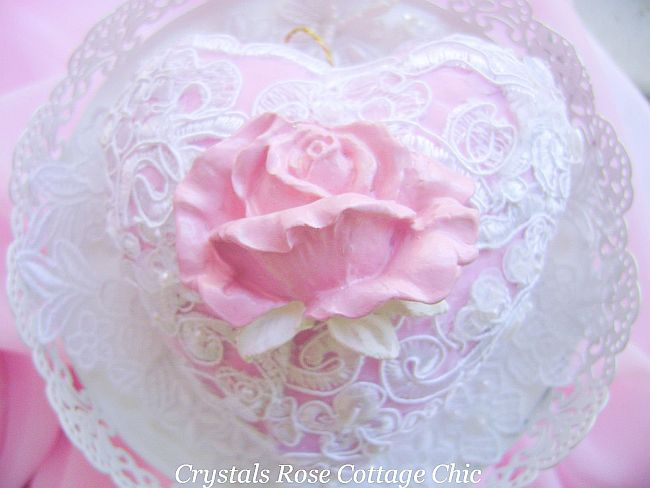 Shabby Lace Rose Heart Ornament...Free shipping in U.S.