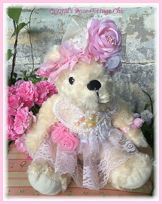 Shabby Chic Pink Rose Bear