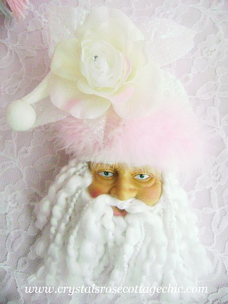 Shabby Glitter Chic Santa Ornament