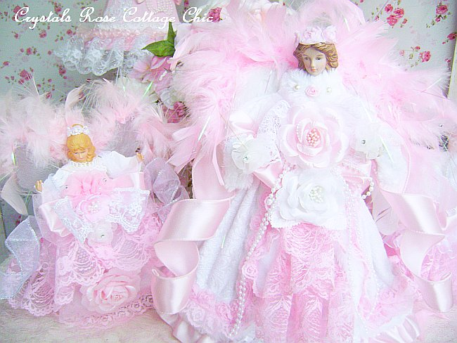 Shabby Pink and Winter White Angel Tree Topper
