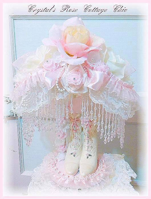Pink Beaded Fringe Victorian Hat & Boot Lamp