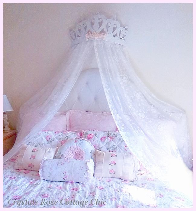 PRINCESS HEART BED CROWN CANOPY WITH SHABBY PINK ROSES AND RHINESTONES SHOWN OVER KING SIZE BED