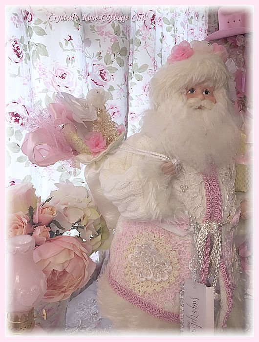 Shabby Pink Doily and Lace Santa