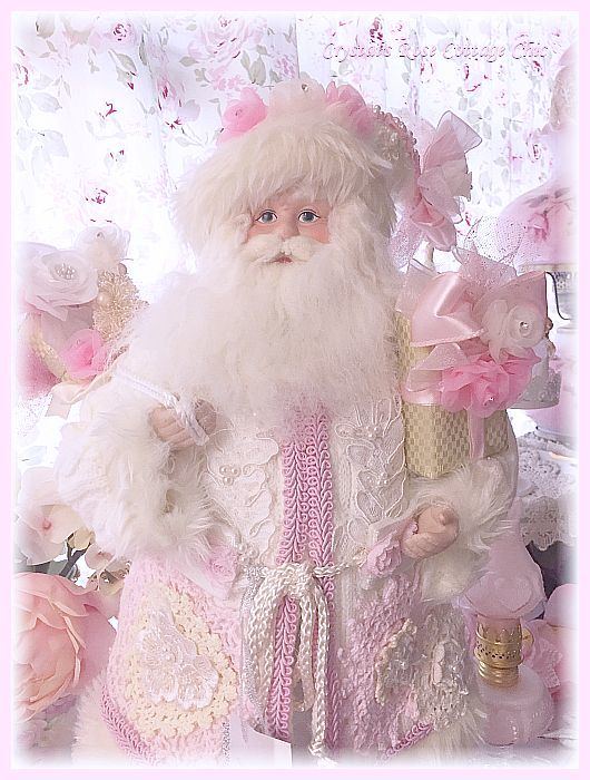 Shabby Pink Doily and Lace Santa