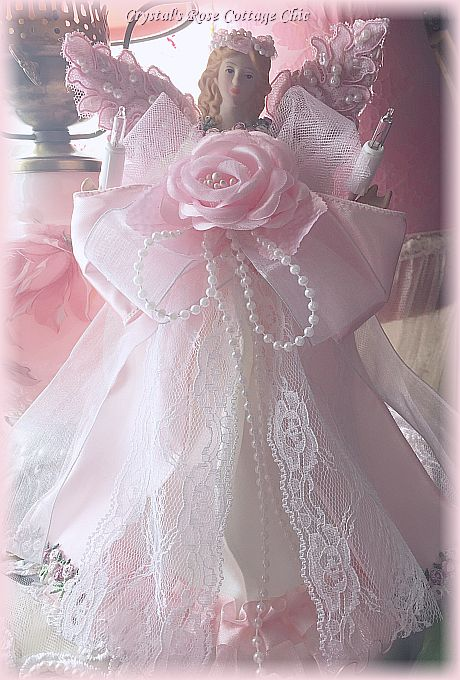 Pink Lace Wing Angel Tree Topper