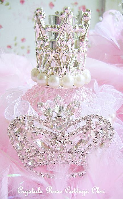 Shabby Pink Crown Perfume Bottle Atomizer