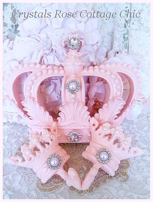 Shabby Pink Princess Fleur de Lis Bed Crown Set