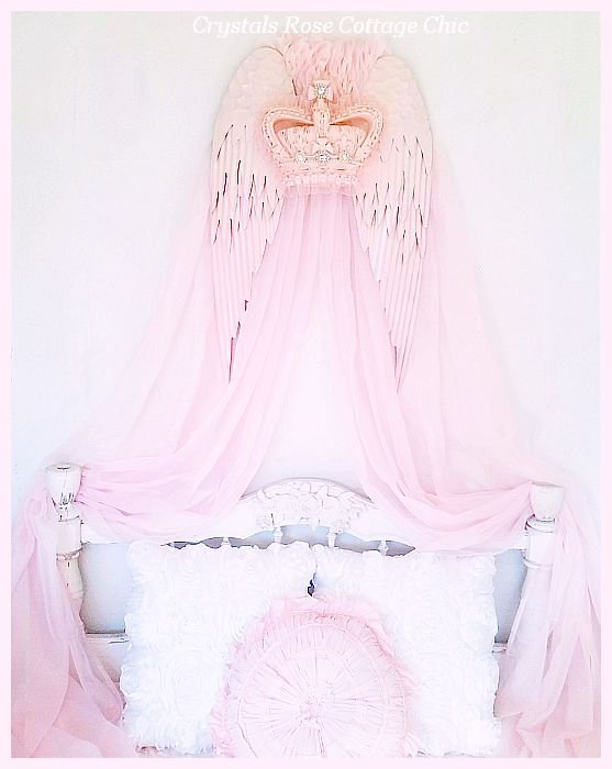 Shabby Pink Bejeweled Crown Wings