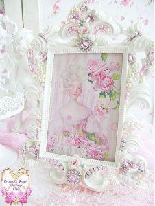 bejeweled pink rhinestone frame pearls