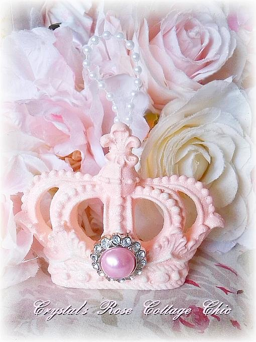 Shabby Pink Princess Crown Ornament