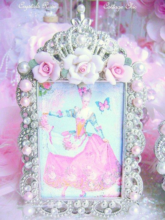 Shabby Pink Rose Fleur De Lis Crown Frame