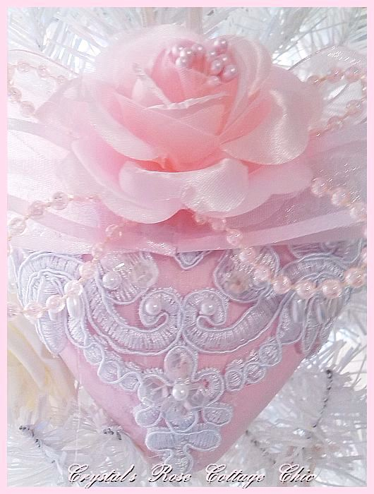 Shabby Pink Rose Victorian Lace Heart