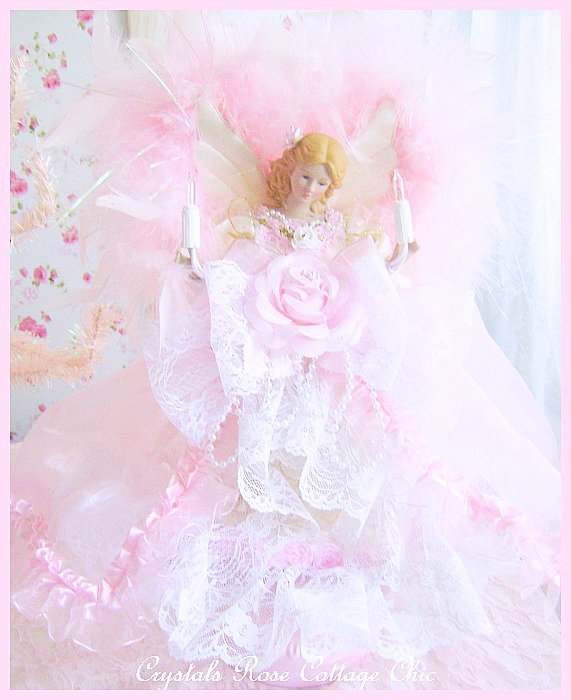 Shabby Pink and Ivory Angel Tree Topper