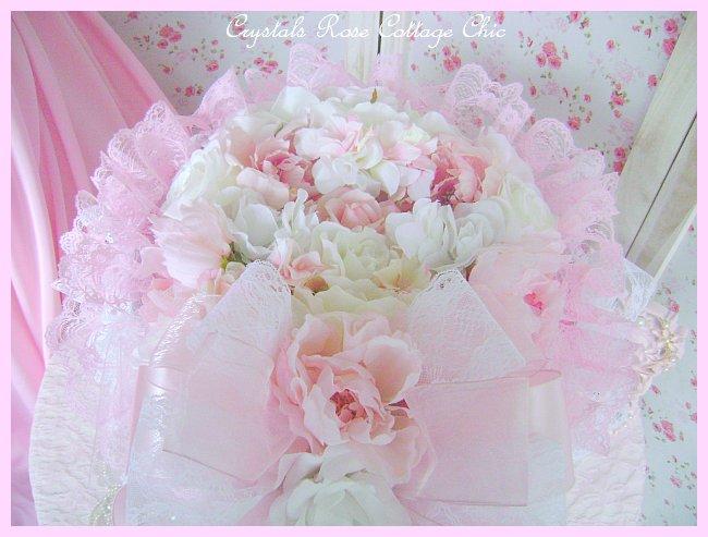 Shabby Pink Rose & Peony Hat Box