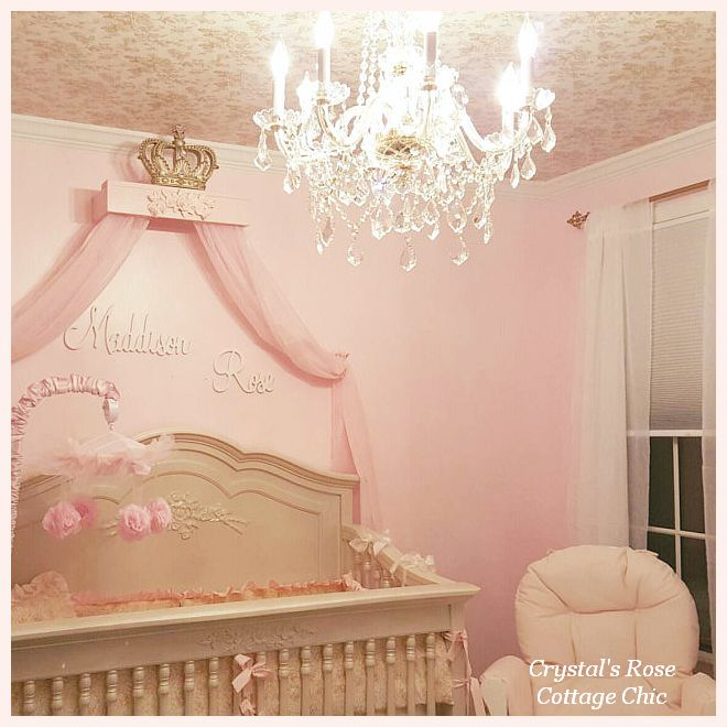 Pink Princess Crib Gold Bed Crown Canopy  Teester