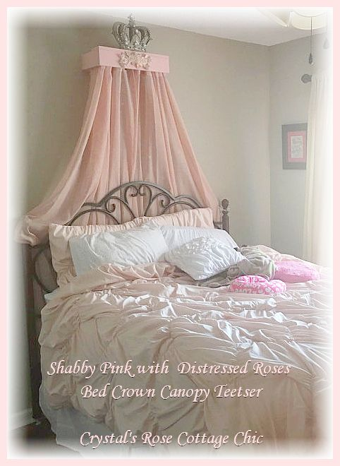 Shabby Pink Distressed Roses Bed Crown Canopy Teester