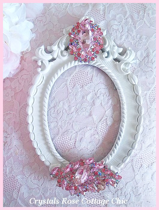 Shabby White Oval Frame with Pink Crystals