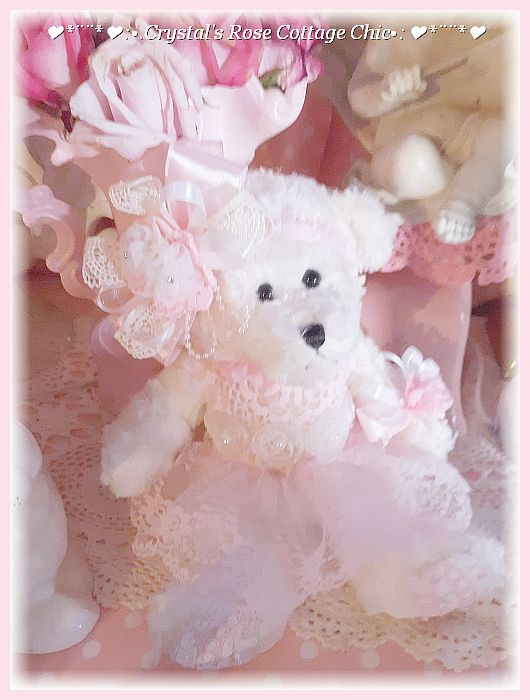 Darling White Bear with Pink Lace..Free Shipping
