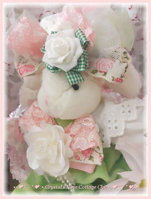 Peach Cottage Rose Easter Bunny