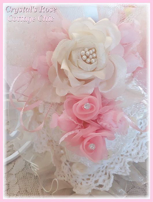 Shabby Chic Pink & Ivory Heart Sachet...Free Shipping