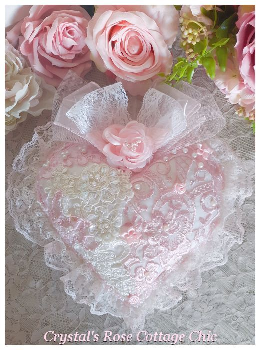 Beautiful Pink & White Lace Heart Sachet...Free Shipping