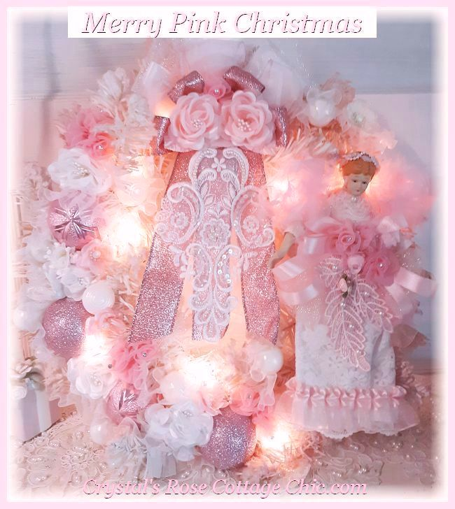 Shabby Chic Pink Angel Christmas Wreath