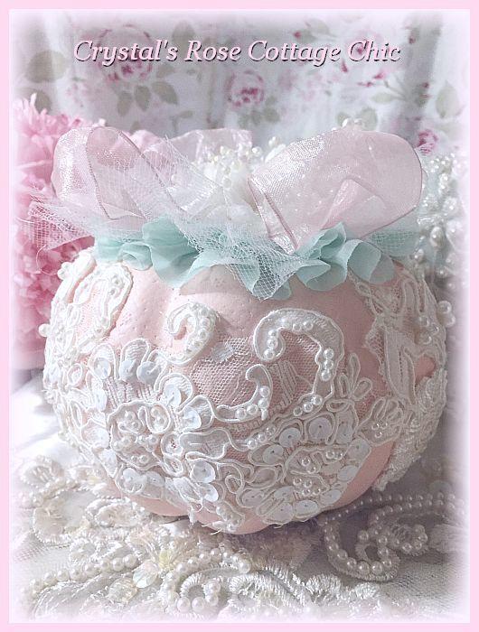 Shabby Chic Pink,White, Aqua Pumpkin