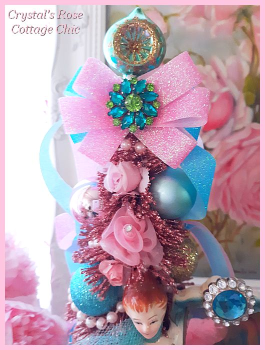 Vintage Lady Pink Blue Rose Bottle Brush Tree