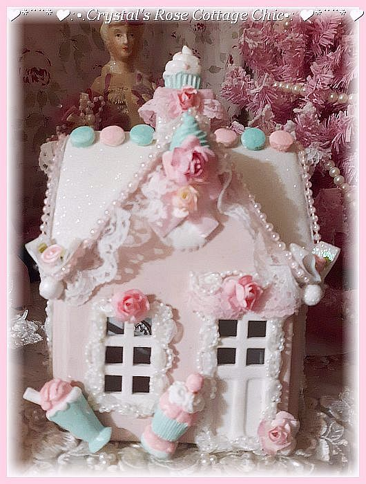 Shabby Chic Pink Light Up Candy Christmas House